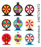 Stock vector vector fortune wheel illustrations with no numbers casino game fortune roulette icon collection 1487176472