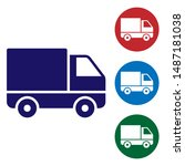 blue delivery cargo truck...   Shutterstock .eps vector #1487181038