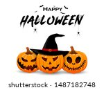halloween banner design with... | Shutterstock .eps vector #1487182748