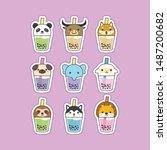 cute boba tea animals character ...   Shutterstock .eps vector #1487200682
