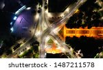 Aerial Drone Night View Of...