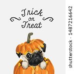 trick or treat slogan with cute ... | Shutterstock .eps vector #1487216642