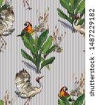 seamless pattern wildlife...   Shutterstock .eps vector #1487229182