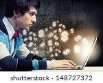 image of young businessman at... | Shutterstock . vector #148727372