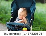 Baby in stroller on a walk in summer park. Adorable little boy in checkered  shirt sitting in blue pushchair.Child in buggy
