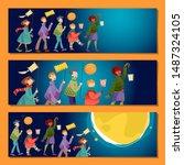 set of 3 universal horizontal... | Shutterstock .eps vector #1487324105
