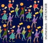 children with lanterns... | Shutterstock .eps vector #1487324108
