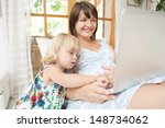 pregnant mother and infant... | Shutterstock . vector #148734062
