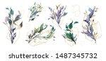 wedding invitation frame set ... | Shutterstock .eps vector #1487345732