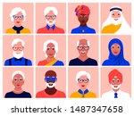 set of avatars of elderly men... | Shutterstock .eps vector #1487347658