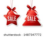 christmas sale labels with bow. ... | Shutterstock .eps vector #1487347772