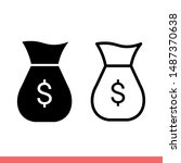 money bag icon in modern flat...