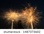 Colorful fireworks lights on the sky background, Kouvola, Finland