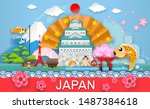 japan travel place and landmark ... | Shutterstock .eps vector #1487384618