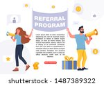 refer a friend concept. people... | Shutterstock .eps vector #1487389322