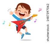 happy kid play electric guitar...   Shutterstock .eps vector #1487397062