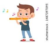 Happy Kid Play Flute Music...