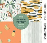 tropics seamless pattern set.... | Shutterstock .eps vector #1487398508