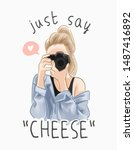 say cheese slogan with cartoon... | Shutterstock .eps vector #1487416892