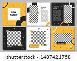 set of editable square banner... | Shutterstock .eps vector #1487421758