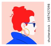profile of a fashionable red... | Shutterstock .eps vector #1487427098