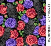 raven and roses seamless... | Shutterstock .eps vector #1487453255