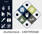 Stop Icon Set. 13 Filled Stop...