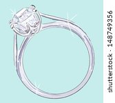 Diamond Ring. Hand drawn illustration of diamond ring. Drawn in Illustrator with charcoal brush