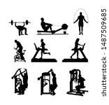 sport man exercises on gym... | Shutterstock .eps vector #1487509685