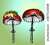 poisonous mushrooms with a... | Shutterstock .eps vector #1487514008
