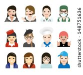 user woman jobs icons. vector... | Shutterstock .eps vector #148751636