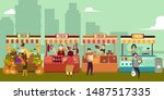 local market place with fresh... | Shutterstock .eps vector #1487517335