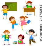 set of kids at school | Shutterstock . vector #148753568