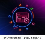 web timer line icon. neon laser ...