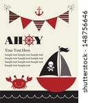 pirate party card design.... | Shutterstock .eps vector #148756646