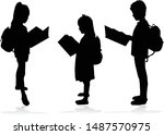 silhouette of a child with a... | Shutterstock .eps vector #1487570975