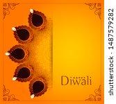 happy diwali yellow background... | Shutterstock .eps vector #1487579282