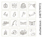 Camping and tourism outdoor elements, Set of icons, line design - stock vector