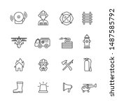 Fire Fighter Thin Line Icons