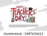 happy teachers day vector...   Shutterstock .eps vector #1487633612