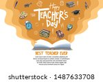 happy teachers day banner with... | Shutterstock .eps vector #1487633708