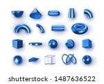 set of 3d blue geometric shapes ... | Shutterstock .eps vector #1487636522