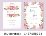beautiful wedding card with... | Shutterstock .eps vector #1487658335