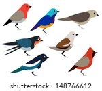 Stock vector set of different birds 148766612