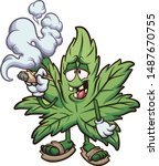 cartoon marijuana plant smoking ... | Shutterstock .eps vector #1487670755