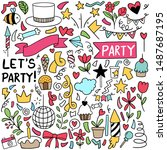 hand drawn party doodle happy... | Shutterstock .eps vector #1487687195