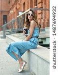 beautiful caucasian girl in... | Shutterstock . vector #1487694932