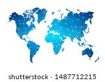abstract world map geometric... | Shutterstock .eps vector #1487712215