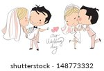 wedding card. bride and groom  | Shutterstock .eps vector #148773332