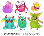 Stock vector cute cartoon monsters set of cartoon monsters ghost goblin bigfoot yeti troll dragon and 1487738798